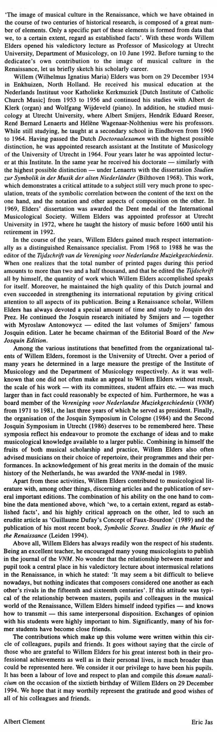 biography Willem Elders by Eric Jas en Albert Clement